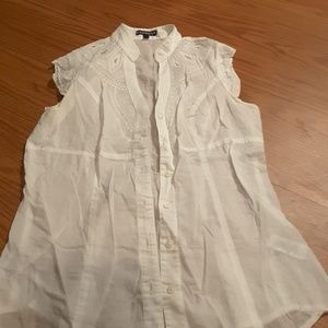 Express white sleeveless blouse floral embroidery